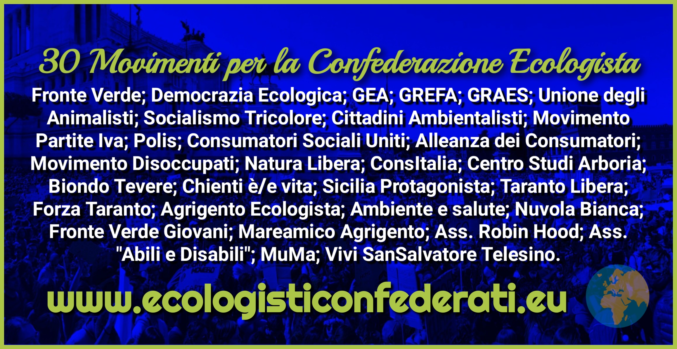 La Confederazione Ecologista sale a 30 Movimenti